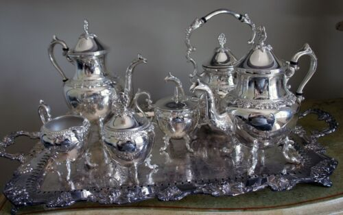 Silver on Copper BSC Birmingham Coffee & Tea Set | Grapevine Pattern |7 Pieces