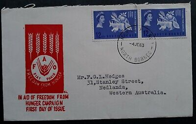 SCARCE 1963 North Borneo Freedom From Hunger FDC ties 2 stamps to Australia