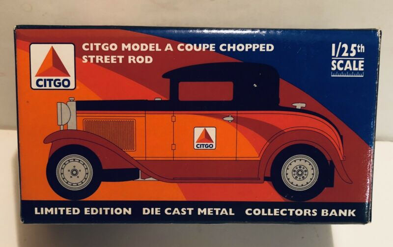 Citgo Model A Coupe Chopped Street Rod 1/25 scale Die Cast Coin Bank NIB