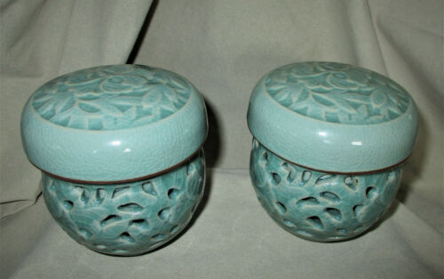 VINTAGE PAIR ASIAN COVERED TEA CUPS WITH CERAMIC INFUSER Double Wall Pierced