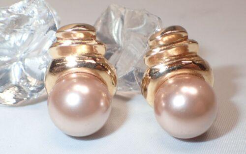Estate Big 12MM Champagne Pearl Earrings 14K Yellow Gold Omega Post Back