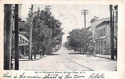 1907 Stores 13th St. College Point NY post card (Queen St Stores)