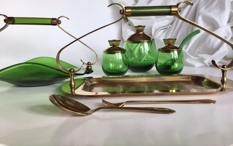 MCM Paden City Emerald-Glo Serving Set National Silver Co 11 Pieces!