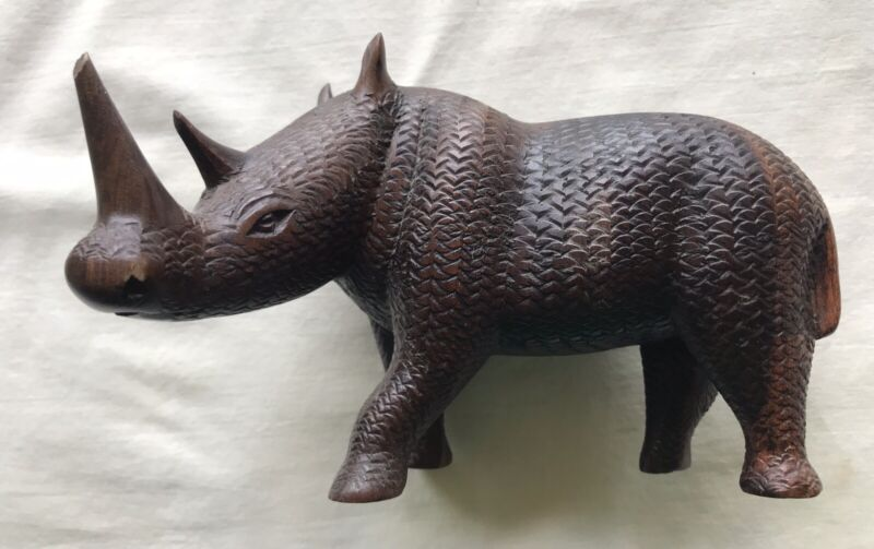 A Vintage Hand Carved Wooden Rhinoceros Figurine