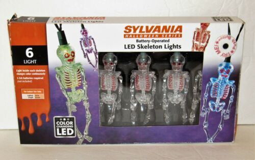 Halloween Skeleton LED Lights Color Changing Sylvania Battery Operated in Box