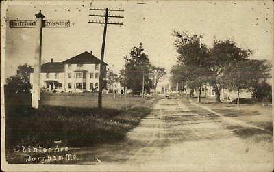 Burnham ME Clinton Ave Railroad Crossing c1910 Real Photo (Clinton Crossing)