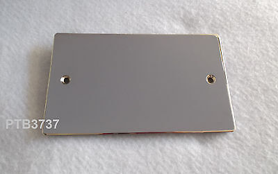 2 Gang Blank Plate In Polished / Mirror Chrome Finish FLAT PLATE By Superswitch  2 Gang Blank Plate