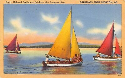 Cecilton Maryland~Colored Sailboats on Summer Sea~1952 Linen Postcard