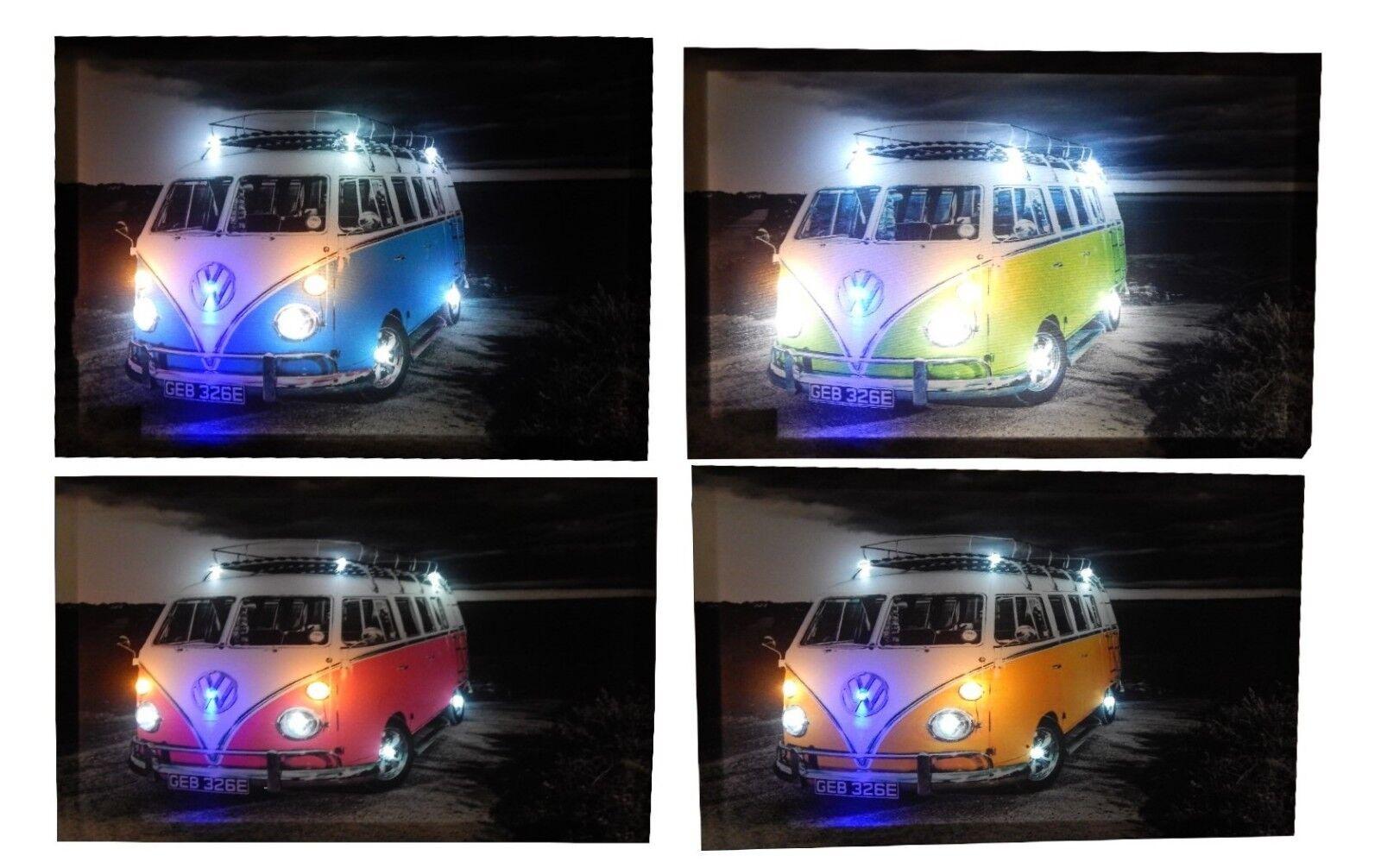 T1 T2 T3 Vw Bulli Bus leinwandbild LED Leucht bild Beleuchtung Wohnzimmer 45x65