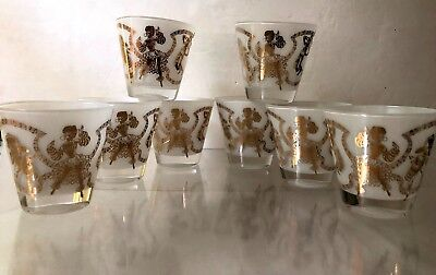 Vintage 1940s-1950s CALYPSO~8pc~OLD FASHIONED GLASSES~8oz~BAR~TUMBLERS~CARIBBEAN