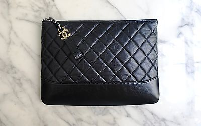 *NEW 2017 CHANEL | GABRIELLE Quilted Black Leather Clutch Pouch Bag