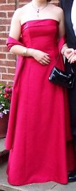 Red silk Strapless Prom Dress Worn Once £15