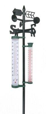 Garten Wetterstation 145cm Regenmesser Windmesser Thermometer Wettermessung