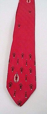 1950s Men's Ties, Bow Ties – Vintage, Skinny, Knit 1950s Silk Skinny Necktie Tie Brent Montgomery Ward Cajun Red Black Fleur de Lis $8.05 AT vintagedancer.com
