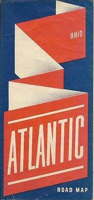 1940 ATLANTIC WHITE FLASH GAS Road Map OHIO Cincinnati Cleveland Columbus Toledo
