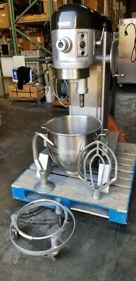Hobart H-600t 60 Qt Mixer Stainless Bowl Bowl Dolly Hook Beater 115v Works Good