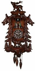Cuckoo Wall Clock Deer Handcrafted Wood Antique Modern Home Decor Music Dancers
