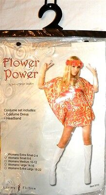 Hippie Girl Flower Power Halloween Dress Costume 1960s size Small 6-8 New - Power Girl Halloween Costume