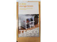 TESCO shoe Storage boxes Interlocking Shelf SHOE RACK 4 cubes NEW BOXED