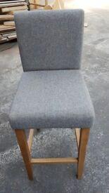 Oak Bar Stool - Grey Fabric
