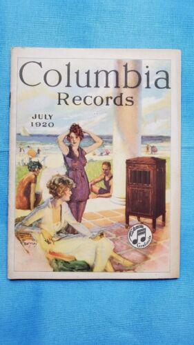 Original Columbia Graphophone Phonograph Record Catalog - July, 1920