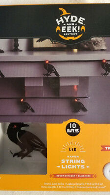 Hyde and Eek! Boutique™ 10ct LED Halloween Black Metal Raven Lights w/ Red Eyes (Red And Black Halloween Eyes)