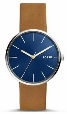 fossil watch men leather brown Quartz New 42mm Hutton Water Resistant BQ2438