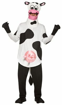 Cow Halloween Costume (Adult Cow Halloween Costume Spotted Black White Cattle Farm Animal One)