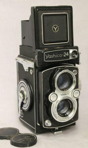 Super Clean Yashica 24 220 Film (120??)TLR Camera W/Case  & Cap