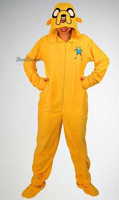 Adventure Time Jake Pajamas (Adventure Time JAKE Adult Costume PJS Pajamas Hood Mask Hat Removable Feet XL)