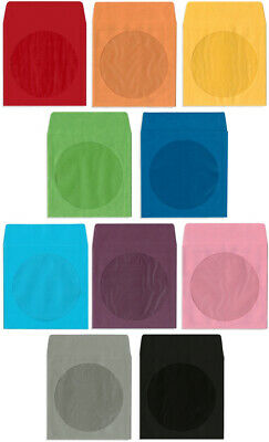 200-pak Colored Paper Cddvd Sleeves With Window Flap 10 Colors Available
