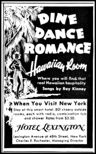1938 Hawaiian room Hotel Lexington New York City vintage art Print Ad  adL51