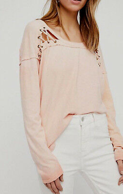 Free People Ob724979 First Love Lace Up Top Long Sleeves   Side Vents Silky Clay