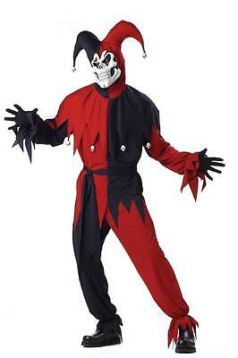 IT Evil Jester Scary Skull Circus Clown Adult Costume - Red/Black (Evil Jester Costume)