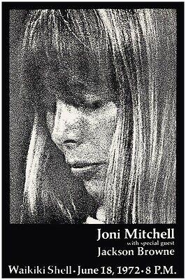 Joni Mitchell POSTER Jackson Browne HUGE POSTER live in Waikiki Hawaii 1972
