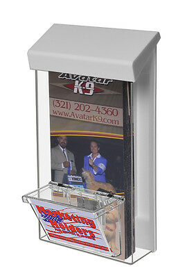 Outdoor Brochure Flyer Holder Box Tri - Fold 4 X 9 With Business Card Box Holder