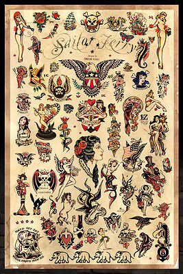 """Sailor Jerry Tattoo Flash Poster (Version. 3) - (24""""x36"""") - Free S/H"""