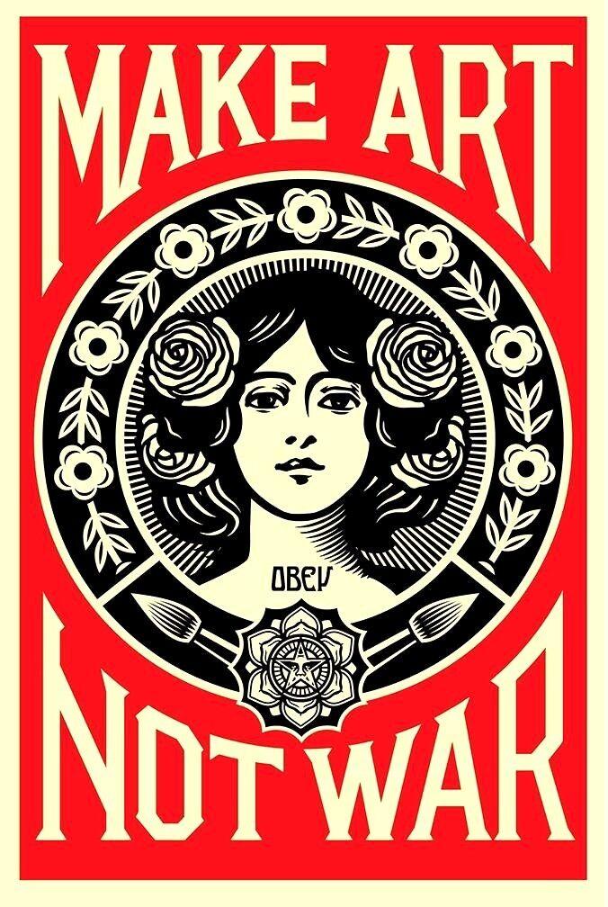 SIGNED Shepard Fairey MAKE ART NOT WAR Print Poster Obey Giant 24x36