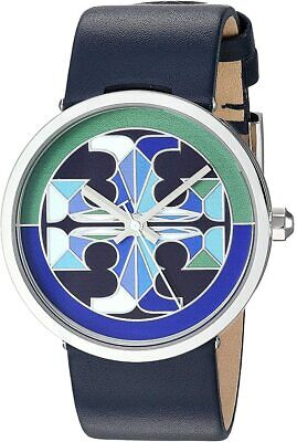 NEW Tory Burch Reva Watch Silver & Navy Blue Leather TBW4042 Stained Glass Logo