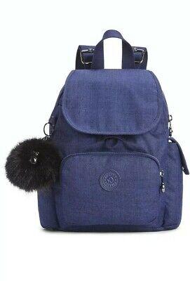 NEW Kipling City pack mini backpack Rucksack Cotton Indigo Blue Rrp£77