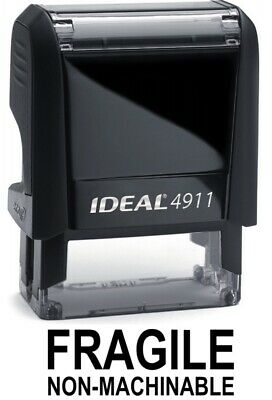 Fragile Non-machinable Text On Ideal 4911 Self-inking Rubber Stamp Black Ink