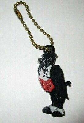 """Vintage OLD CROW Kentucky Whiskey Plastic MASCOT Keychain FRANKFORT, KY 1 3/4"""""""