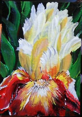 "ACEO ORIGINAL PAINTING Dixie Art Card POP ART IMPRESSIONISM ""FAVORITE IRIS"""