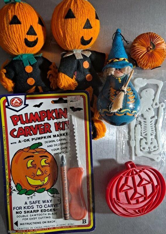 Vintage Halloween Lot: Jack-o-lantern Scarecrows, Witch Ornament, Pumpkin Carver