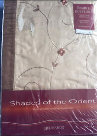 BRAND NEW gold luxury embroidered double duvet set
