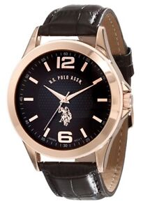 U.S. Polo Rose Gold-Tone Brown Faux-Leather Band Men's Watch