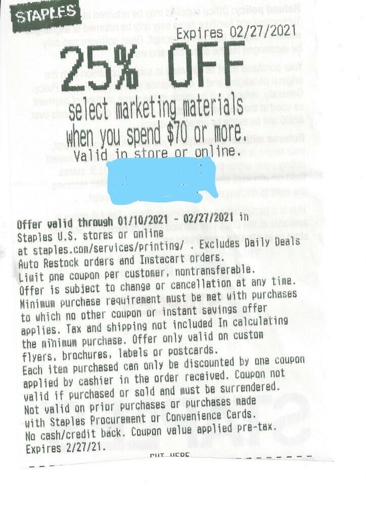 Staples Coupon 25 Off Marketing Materials When You Spend 70 Expires 2/27/21 - $1.99
