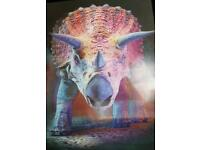 3D Triceratops Card Poster