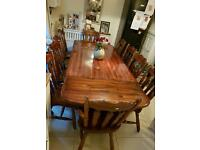 Farmhouse pine table and ten chairs