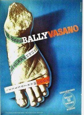 Original vintage poster BALLY VASANO SHOES MARBLE FEET c.1950
